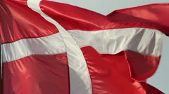 Danish flag in the wind Stock Footage
