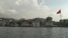 Drive plate - Bosphorus Straits, residential neighbourhood flag Stock Footage
