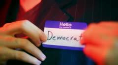 Democrat nametage name tag Stock Footage