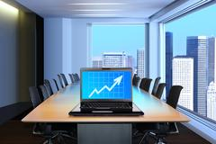 Laptop in meeting room Stock Illustration