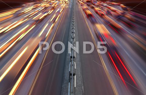 Stock photo of night time traffic on highway