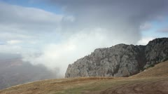 Movement of the clouds on the mountain Demerdji. Alushta, Crimea, Ukraine (TimeL Stock Footage
