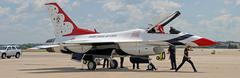 f-16 thunderbird being prepaired  for display - stock photo
