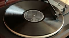 Vinyl rotating on a turntable, top view HD Stock Footage