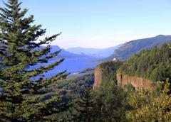 columbia river gorge & crown point, oregon. - stock photo