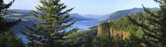 The columbia river gorge & vista house, panorama. Stock Photos