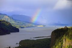 Rainbow & Vista House Oregon. - stock photo