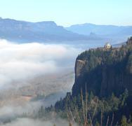 Fog in the columbia river gorge, oregon. Stock Photos
