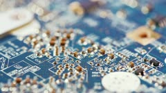 Fly over computer circuit board Stock Footage