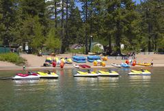 rental equipment on lake tahoe, ca. - stock photo