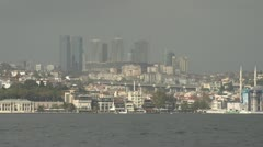 Drive plate - Bosphorus Straits, Istanbul skyline ship through frame Stock Footage