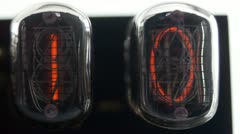 Nixie tube clock numerical counter Stock Footage
