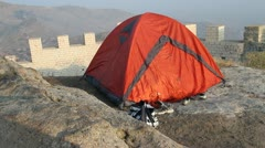 Red tourist tent Stock Footage
