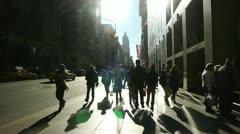 Crowd of people walking sidewalk street New York City 24p slow motion Stock Footage