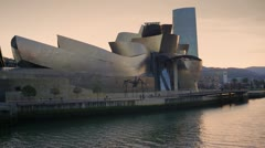 Bilbao at sunset Stock Footage