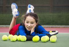 outdoor tennis fun for girl - stock photo