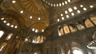 Stock Video Footage of Hagia Sofia church pan interior, counterclockwise