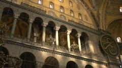 History & culture, Sofia church interior, upper floor balconey Stock Footage