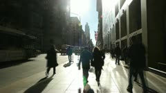 Crowd of people walking backlight in New York City fast time lapse 24p Stock Footage