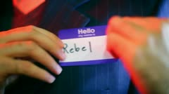 Rebel name tag Stock Footage