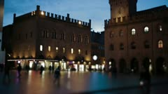 European plaza by night - stock footage