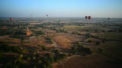 Handheld shot from a Balloon ride over Bagan, Myanmar Stock Footage