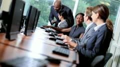 Financial Traders Receiving Manager Support Stock Footage