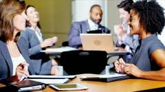 Groups Multi Ethnic People Atrium Business Meeting - stock footage
