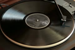 Vinyl rotating on a turntable, top view NTSC Stock Footage