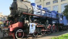 Tito's blue train locomotive Stock Footage