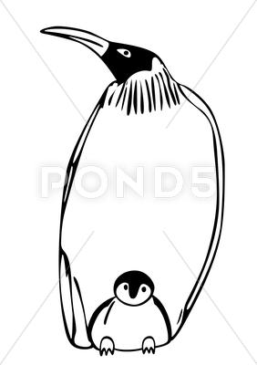 Stock Illustration of penguin with puppy