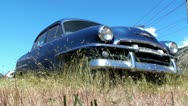 Stock Video Footage of Old Rusted Car in Long Grass