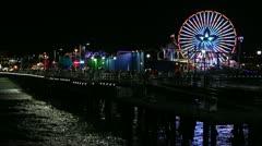 Santa Monica Pier Night With Ferris Wheel Moving - stock footage