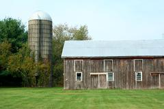 barn and silo - stock photo