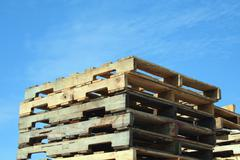Stock Photo of stacked pallets