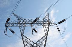 High tension power lines Stock Photos