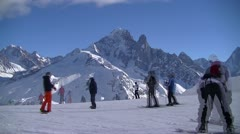 Time lapse of busy ski slope Stock Footage