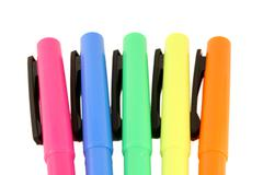 Colored highlighters Stock Photos