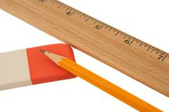 ruler pencil and eraser - stock photo