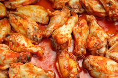 Chicken wings cooking Stock Photos