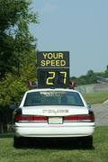 police car speed check - stock photo