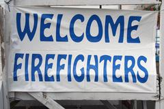 Welcome firefighters sign Stock Photos