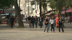 Istanbul, town square, people traffic and shops Stock Footage