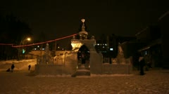 New Year's Ice Town Illuminated (02) Stock Footage
