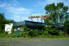 abandoned roadside diner - stock photo
