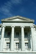 old courthouse with blue sky - stock photo