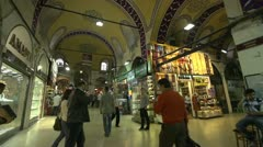 Interior grand bazaar, people and shops Stock Footage