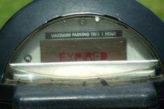 Close up of a expired parking meter Stock Photos