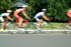 Blurred motion bicycle race Stock Photos