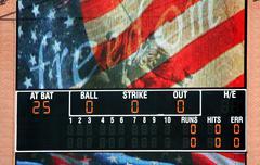 Baseball tulostaulu yhdysvaltain lipun Kuvituskuvat